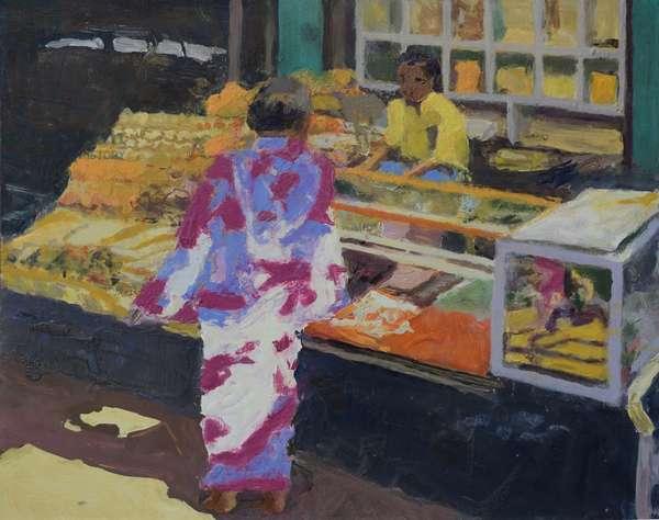 Market stall (Mumbai), 2016 (oil on canvas)
