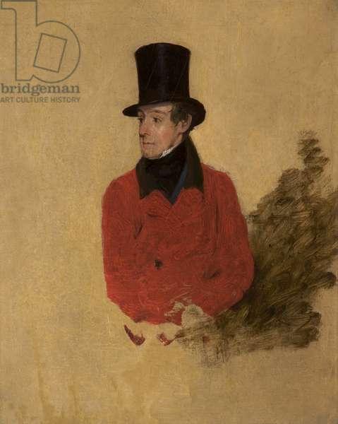 A Huntsman (2nd Lord de Tabley 1811-87) (oil on wood)