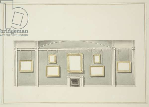 Designs for the Picture Hangs on one of the Long Walls of Sir John Leicester's Gallery, Hill Street, c.1806 (w/c over pencil on paper)