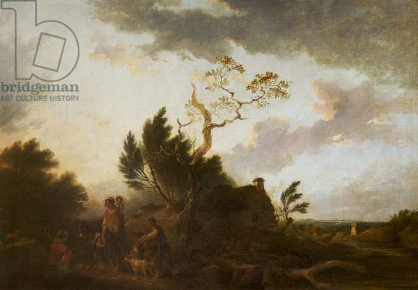 An Extensive Landscape with Gypsies (oil on canvas)