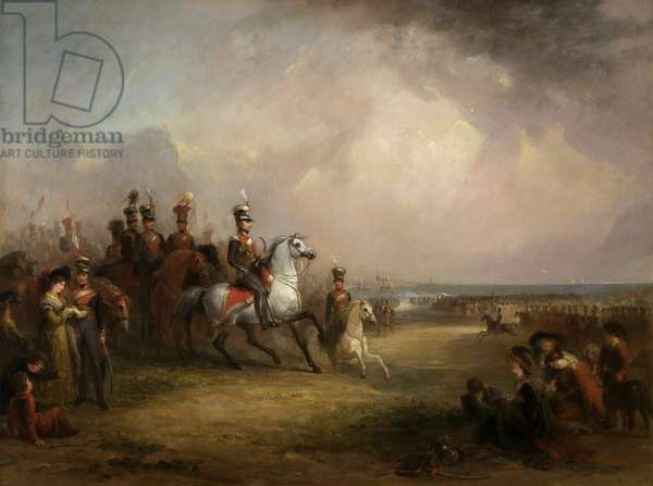 Colonel Sir John Leicester, Bt, and the King's Cheshire Yeomanry Cavalry Exercising on the Sands at Liverpool (oil on canvas)