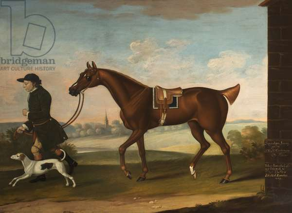 'Squeaking Jenni' Got by Sir Richard Grosvenor's 'Old Terror' with Sir P. B. Leicester's Groom and Hound, 1755 (oil on canvas)