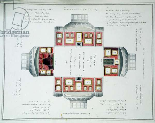 Hanging plan of Sir John Leicester's Gallery, Hill Street, c.1806 (w/c over pencil on paper)