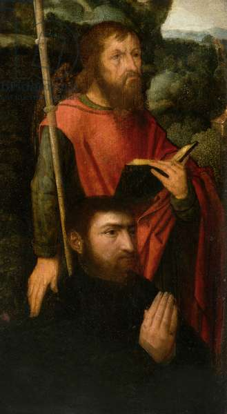 A Male Saint with a Donor (oil on board)
