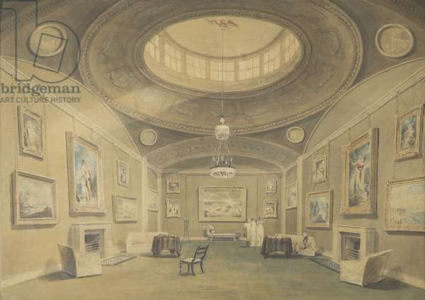 Sketch of Sir John Leicester's Gallery of Pictures by British Artists, Hill Street, Berkley Square, 1806 (pencil & wash on paper)