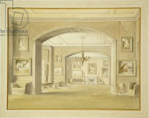 Picture Gallery at Tabley House, 1809 (w/c over pencil on paper)