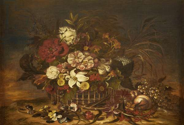 Flowers in a Basket with Fruit (oil on canvas)