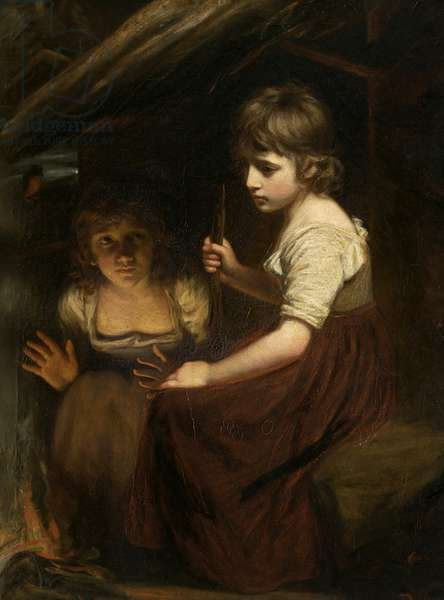 Cottage Girls by the Fireside (oil on canvas)