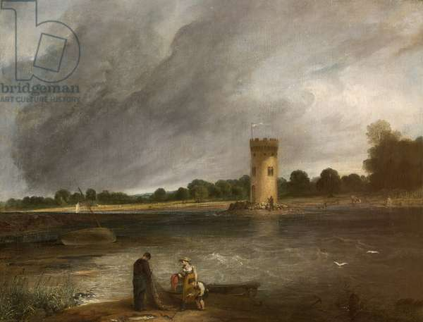 Tabley Lake and Tower, the Seat of Sir John Leicester, Bt (oil on canvas)