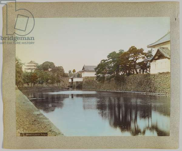 Imperial Castle, Tokyo, Japan (hand-coloured b/w photo)
