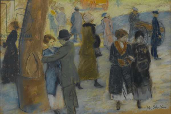 City Scene, c.1910 (pastel on reverse side of a wallpaper fragment)