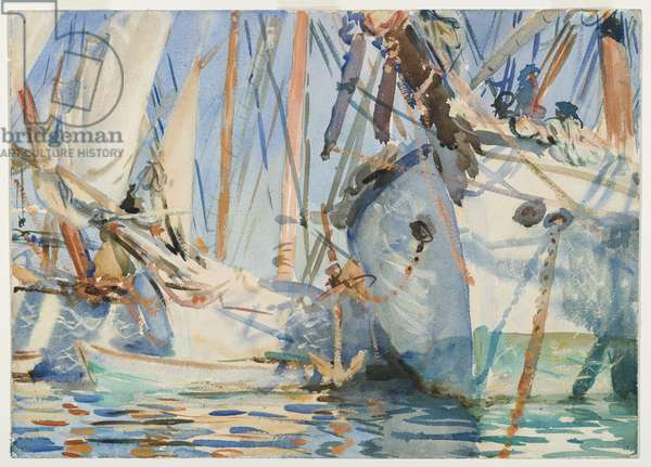 White Ships, c.1908 (translucent and touches of opaque w/c and wax resist with graphite underdrawing)