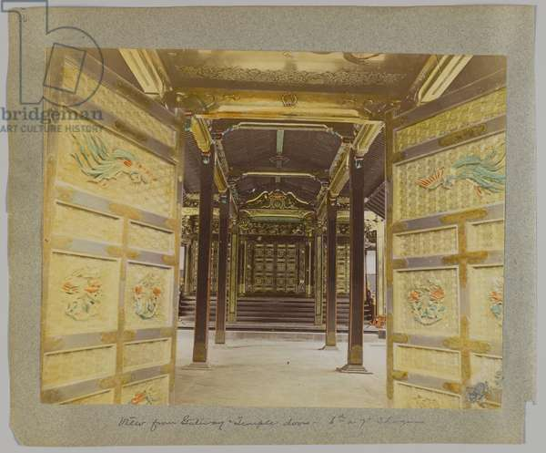 View from the Gateway to the Doors, Temple of the 6th or 7th Shogun, Shiba Park, Tokyo, Japan (hand-coloured b/w photo)
