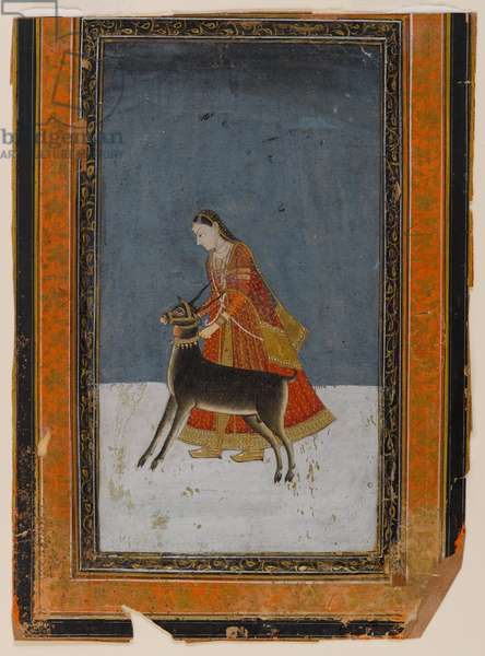 Lady with a black buck, c.1750 (w/c & gold on paper)