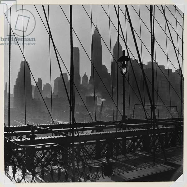 New York Harbor, View of Lower Manhattan from Brooklyn Bridge, October 1946 (chlorobromide photo)