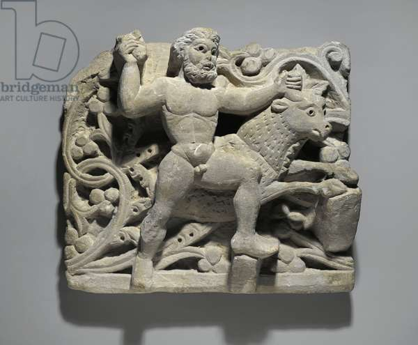 Heracles smithing Acheloos in the form of a bull, from Oxyrhynchus, c.300-500 (limestone)