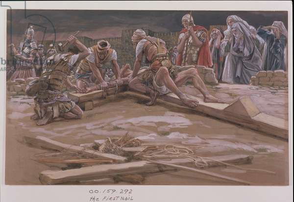 The First Nail, illustration for 'The Life of Christ', c.1886-96 (gouache on paperboard)
