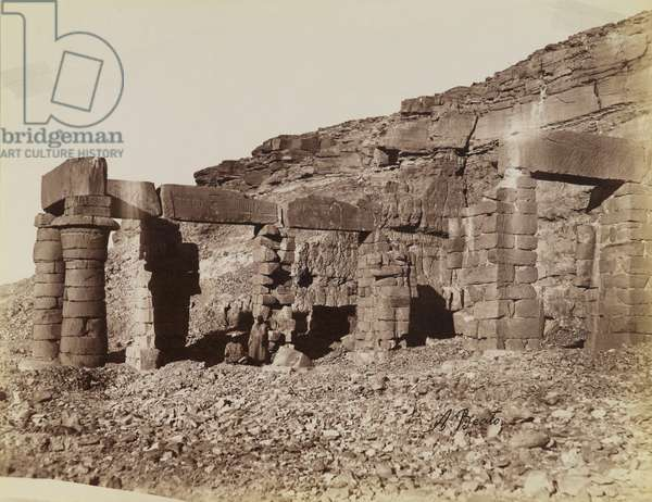 Temple at Gerf Hussein, view of the northeast showing the forecourt of the temple, 19th century (albumen silver print)