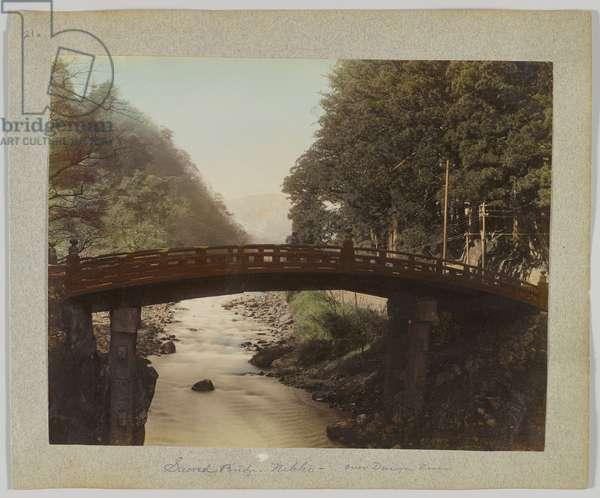 Sacred Bridge over the Daiya Rver, Nikko, Japan (hand-coloured b/w photo)
