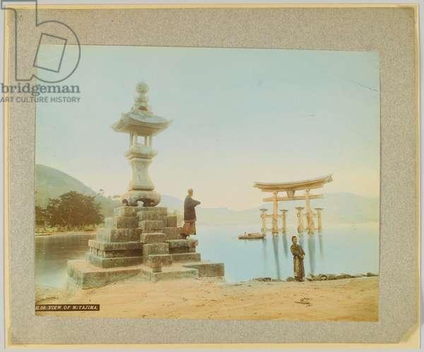 View of Miyajima, Japan (hand-coloured b/w photo)