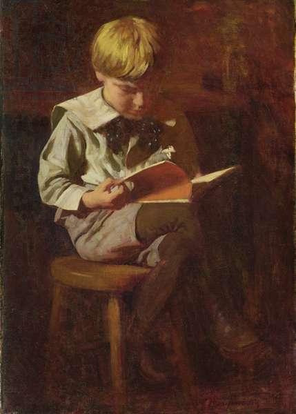 Ned Anschutz (Boy Reading) (oil on canvas)