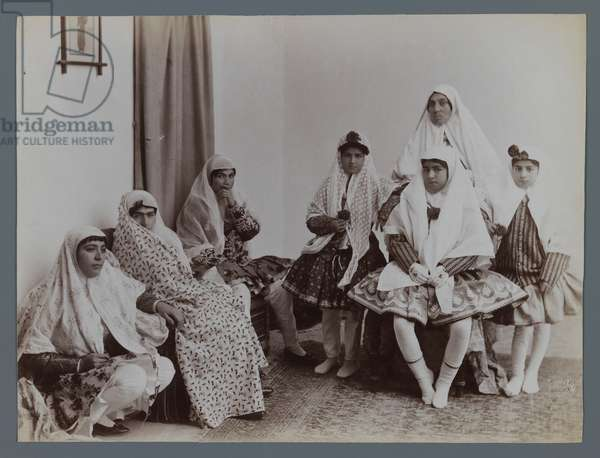 Harem scene with mothers and daughters in varying costumes (silver albumen photo)