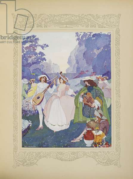 There were shepherds and shepherdesses dancing to the sound of flutes and bagpipes, illustration from 'Contes du Temps Jadis', or 'Tales from Times Past', p.74, 1912 (colour litho)