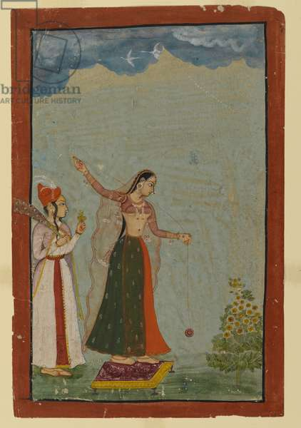Lady with a yo-yo, c.1770 (opaque w/c & gold on paper)