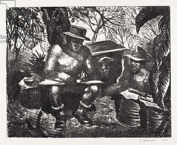 In the Burma Jungles, 1946 (etching on wove paper)