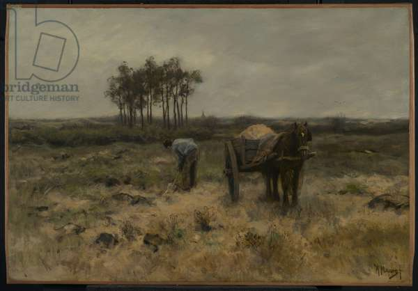 Digging Sand, or The Sand Cart, c.1875 (oil on canvas)