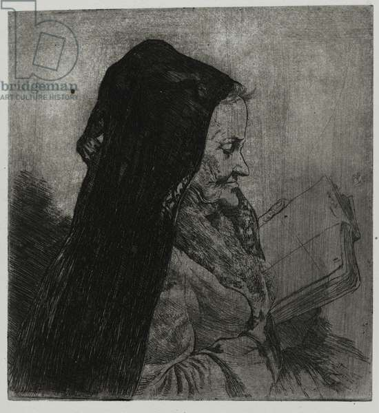 Old Woman Reading, printed by Sigmund Abeles and Edmond Casarella, 1957 (etching)