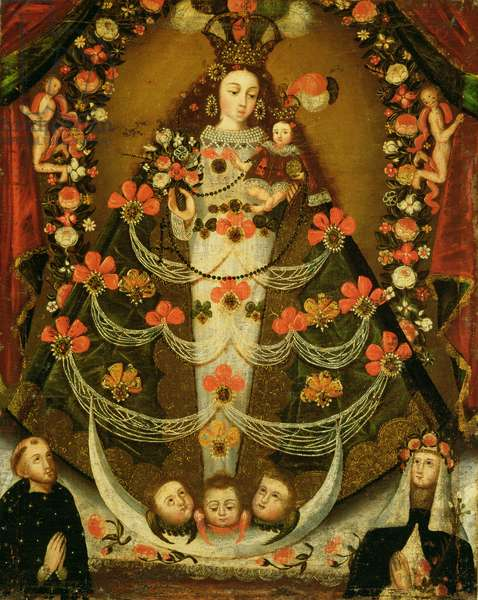 Virgin of Pomata with St. Nicholas of Tolentino and St. Rose of Lima (1586-1617) (oil on canvas)