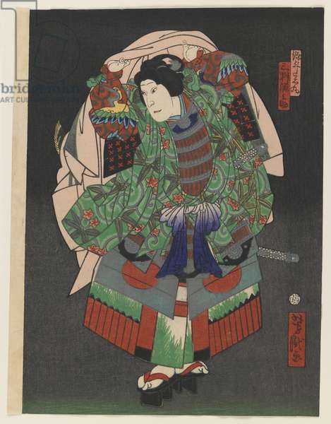 The Osaka Kabuki Actor Gennosuke III, 1868 (colour woodblock print with silver and brass on paper)