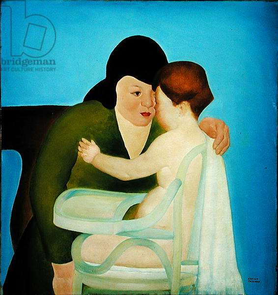 Woman with Child in Highchair (oil on canvas)