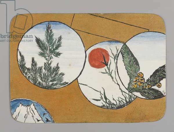 Small Card Decorated with Landscape Motifs (recto), c.1880 (w/c, black ink, and metallic paint on very thin card stock)