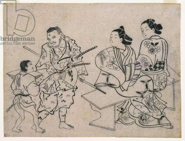 Sumizuir-e, c.1710 (colour woodblock print)