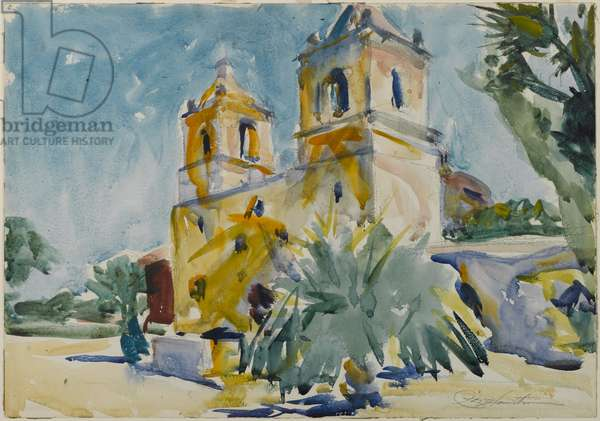 The Mission, 1928 (w/c on paper)