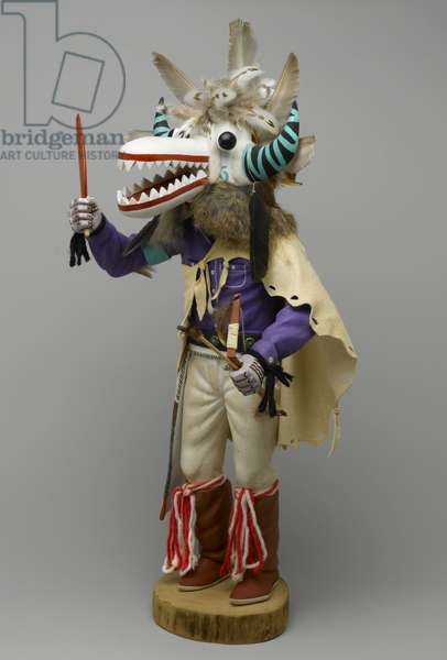 Kachina Doll, 1960-1970 (cottonwood root, acrylic pigment, hide, feathers, fur, yarn, silver)
