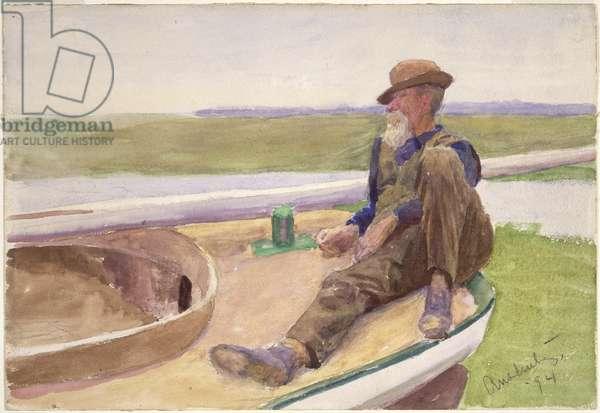 Man in Boat, 1894 (w/c on paper)