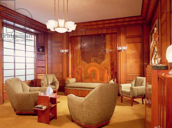 Period room, designed by Alavoine of Paris, c.1923 (lacquer, glass & leather)