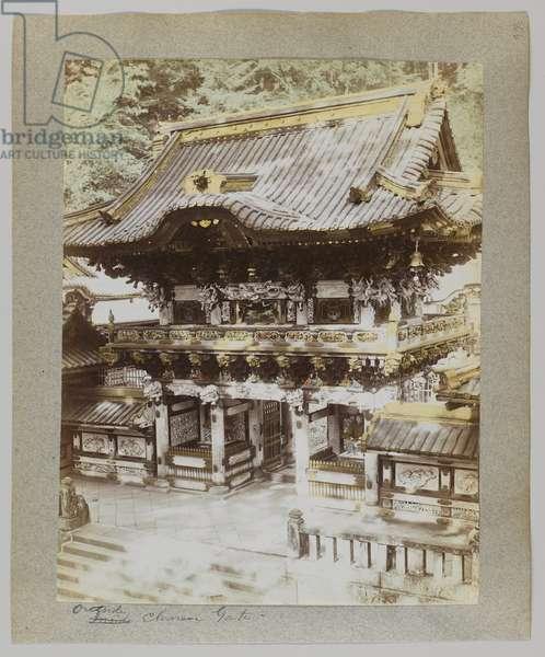 Outside the Chinese Gate, Tōshō-gū, Nikko, Japan (hand-coloured b/w photo)