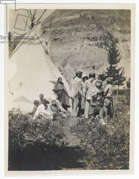 Untitled (Informal Family Group beside a Teepee), c.1900 (gelatin silver print)