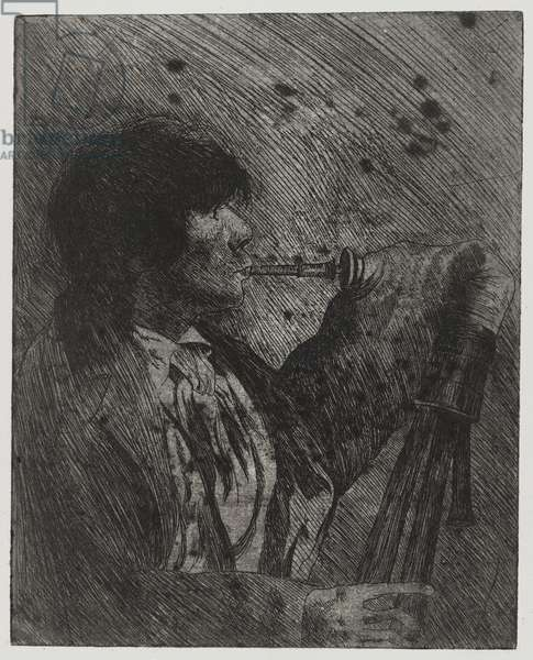 Man Playing Bagpipes, , printed by Sigmund Abeles and Edmond Casarella, 1957 (etching)