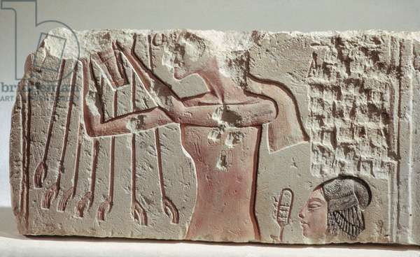 Relief Depicting Akenhaten and His Daughter Offering to the Aten, New Kingdom, c.1352-1336 BC (limestone)