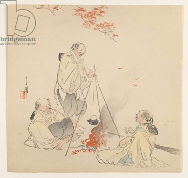 Men by Fire in Autumn, c.1890-1910 (woodblock colour print)