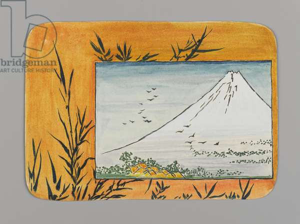 Small Card Decorated with Mount Fuji (recto), c.1880 (w/c and black ink on very thin card stock)