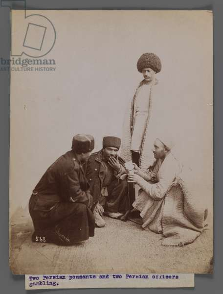 Two Persian Peasants and Two Persian Officers Gambling, late 19th-early 20th century (silver albumen photo)