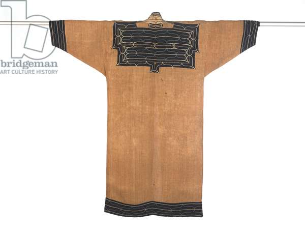 Man's Robe, late 19th-early 20th century (elm bark with cotton applique and silk embroidery)