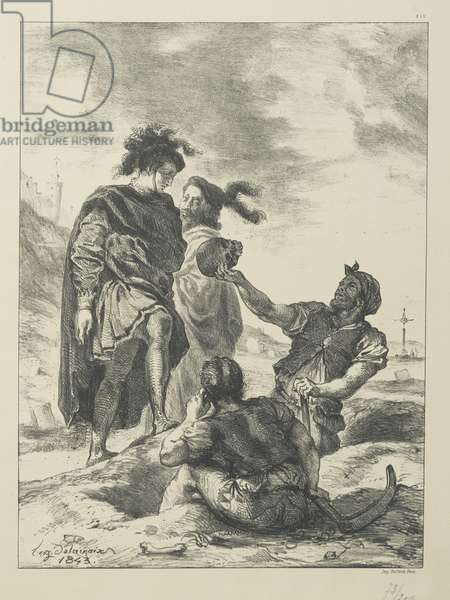 Hamlet and Horatio before the Grave Diggers (litho)