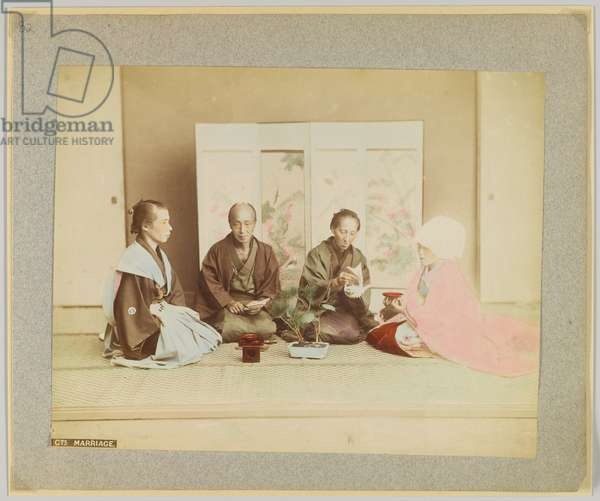 Japanese marriage ceremony (hand-coloured b/w photo)